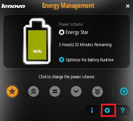 Lenovo energy management where is my dust removal button.
