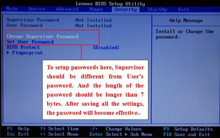 bios user password: